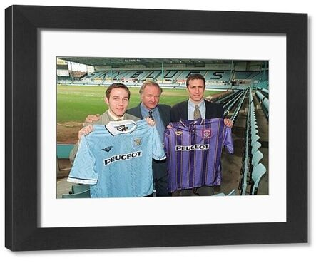 Coventry City manager Ron Atkinson (centre) shows off his two new signings at Highfield Road Stadium today (Friday) Eoin Jess (left) from Aberdeen and Liam Daish from Birmingham City