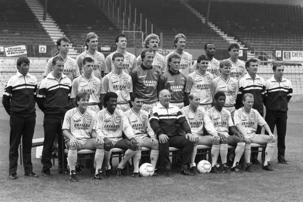 Coventry City squad for the 1987-88 season. (back row l-r) Trevor Peake, Graham Rodger, Keith Houchen, Brian Kilcline, Kevan Smith, Cyrille Regis and Paul Culpin. (middle l-r) Mike Coop (youth team coach), Neil Sillett (assistant physiotherapist)
