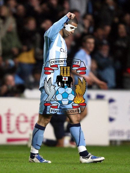 Coventry's Leon Best celebrates at the final whistle after victory over Blackburn during the FA Cup Fifth Round Replay at the Ricoh Arena, Coventry