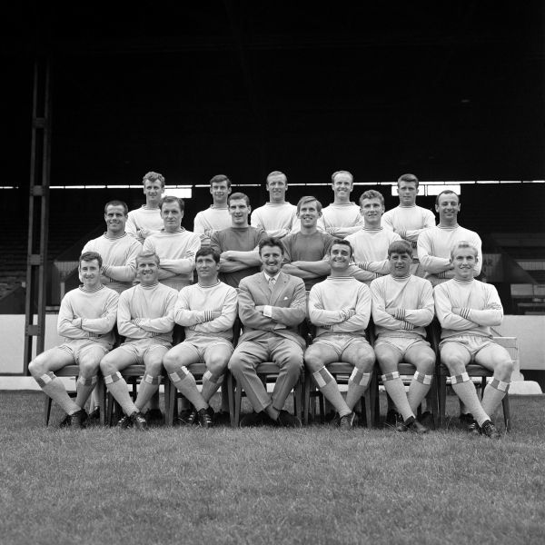 Coventry City Football Club, back row, left to right; Brian Hill, John Mitten, Alan Harris, Ron Farmer and Dietmar Bruck. Middle row; George Curtis, Kenneth Keyworth, Bob Wesson, Bill Glazier, Mick Kearns, and John Sillett. Front row; Ronald Rees