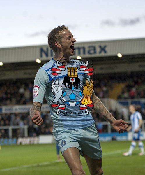 Coventry City's Carl Baker celebrates scoring his sides third goal of the game during the npower Football League One match at Victoria Park, Hartlepool