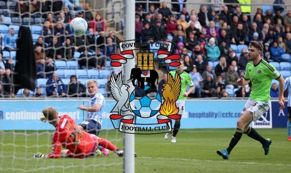 Coventry City's Andy Rose scores his sides second goal of the match