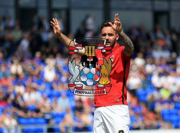 Coventry City's Adam Armstrong celebrates after he scores his sides second goal