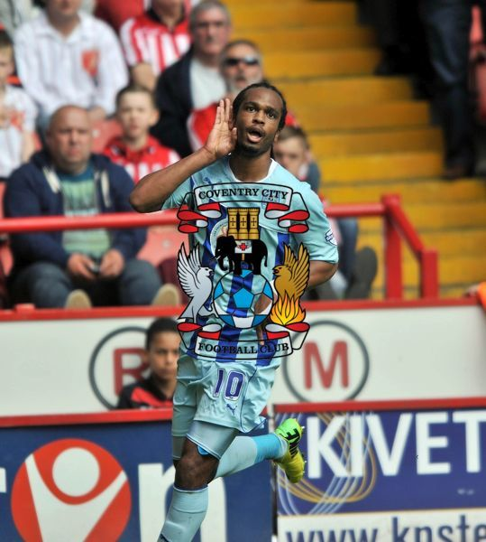 Coventry City's Nathan Delfouneso celebrates first goal