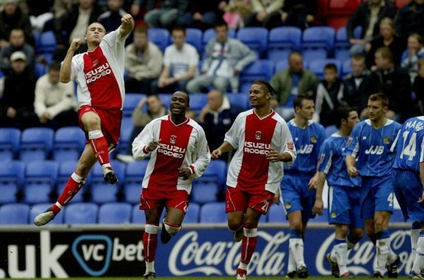 Eddie Johnson celebrates scoring against Wigan Athletic during the Coca-Cola Championship match at the JJB Stadium, Wigan, Saturday October 23, 2004