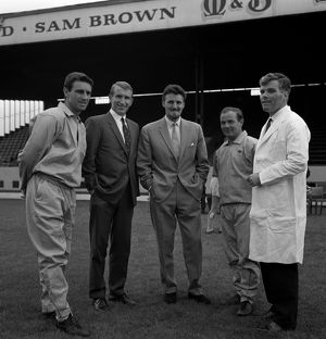 (L-R) Coach Pat Saward, assistant manager Alan Dicks, manager Jimmy Hill, trainer Peter Hill